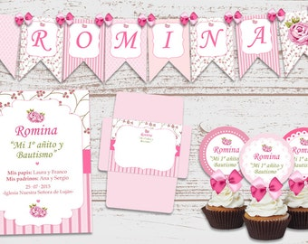 Luxury printable Kit Shabby Chic pink decoration birthday Parties Baby baptism 1 year old baby Shower personalized Invitations