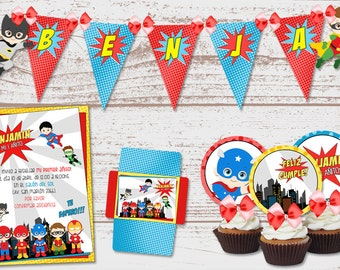 """Luxury printable Kit """"super Heroes Babies"""" birthday parties baby. Male.  1 years old.  Super full. Custom."""