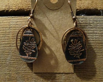 Hand Etched Copper Earrings