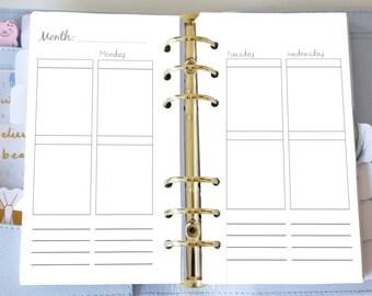 Personal Weekly Insert - Planner Printable Inserts - Weekly WO4P - EC Style Vertical - Personal or Kikki K Medium - Undated