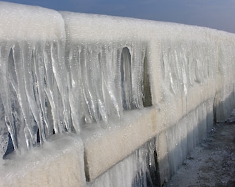 Icicles at the Jetty on the sea in the Netherlands - digital download