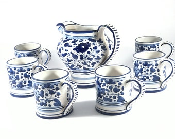 Vintage Tea/ Coffee Pot Set//Orvieto//Pitcher// Mug//Coffee//Tea//Ceramics//Italy//1980s