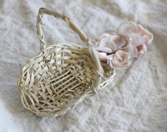 Small white basket vintage
