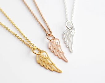 Angel Feather Necklace, Feather Pendant, Angel Wing Pendant, Silver, Gold, Rose Gold Necklace, Angel Charm, Angel Jewellery, Angel Jewelry