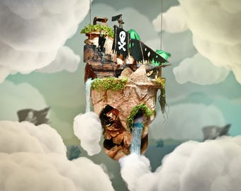 Floating Island Pirate Cove - Hanging Nursery Decor - Kids Bedroom Art - Suspended Decoration - Cute Skull - Pirate Ship - Oasis Design