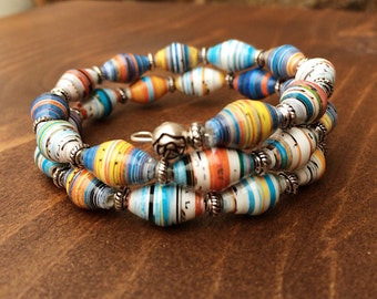 Recycled magazine pages, paper bead bracelet