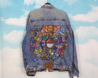 jean jacket Kustom 4U Pokemon & Cie painted size L / XL