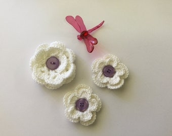 Crochet flowers, crochet appliqués, set of three flower appliqués, white flowers