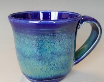 Cobalt Blue, Light blue-green Stoneware Pottery Ceramic Wheel-Thrown Coffee Mug