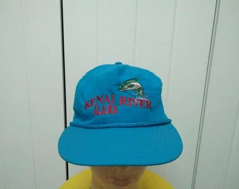 Rare Vintage Fish KENAI RIVER ALASKA Embroidered Cap Hat Free size fit all