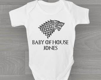 Personalised Game of Thrones Baby Grow, New Unique Bodysuit Baby Onesie Gift.