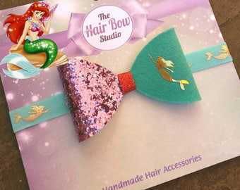 Ariel inspired boutique hair bow, The little mermaid, princess, disney, turquoise,purple, gold transfer, red, girls, party, gift, uk seller