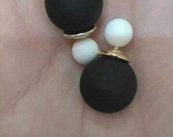 Ear Jacket, Double Sided Earrings, Matte Earrings, Faux Pearl, Stud Earring , Gray Earrings, Black Earrings, Peekaboo Earrings