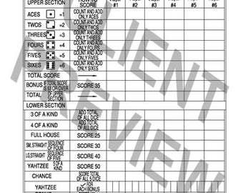 Yardzee, template score sheet, PDF file, lawn dice, out door lawn games, camping game score card download, summer game, lawn dice, yard dice