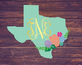 Solid Texas Floral Decal, Texas Decal, ALL STATES AVAILABLE, yeti decal, rtic decal, Decals, Monograms, Texas Floral Decal, Floral Decal