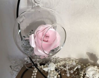 Pink paper rose-paper flower-glass bauble- pink rose- Mother's Day- gift for her- elegant- beautiful rose-birthday-first anniversary