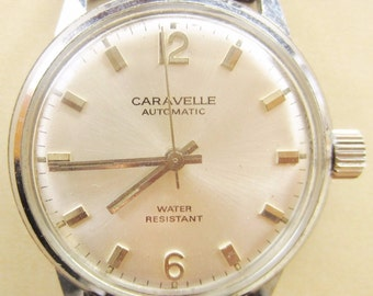 Caravelle by Bulova Automatic Watch 1972 Gents /Mens Stainless Steel Professionally Serviced 6 months Warranty