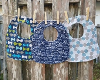 Set of Three Traditional Bibs - Beautiful Blues and Bowties