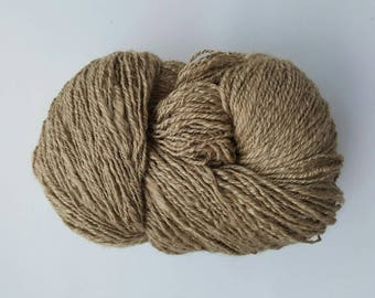 Natural Tussah silk handspun yarn, dark Tussah silk yarn, undyed silk yarn, art yarn, premium silk yarn, hand spun yarn