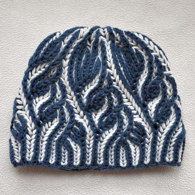 Knitting Pattern Brioche. Hat Brioche stitch. Scheme ...