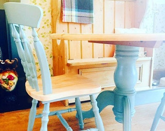Farmhouse Chairs~ Four Solid Pine Hand Painted Shabby Chic Kitchen Dining Chairs ~ Sourced To Order