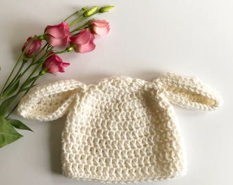 Baby lamb hat 0-3months size; floppy sheep ears hat; Baby Crochet Beanie Hat; white baby hat
