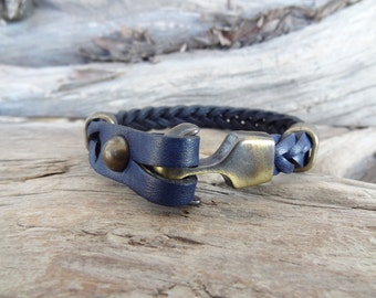 EXPRESS SHIPPING,Navy Blue Thick Braided Leather Bracelet,High Quality Leather Bracelet,Men's Jewelry,Antique Clasp Bracelet,Father's Day