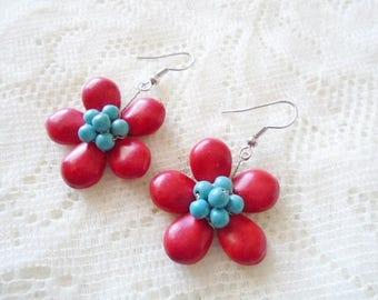 Flower dangle earring, Coral dangle earring, Gemstone earring