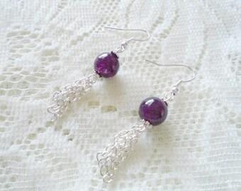 Amethyst silver tassel earring, Gemstone silver earring, Available in ten colors