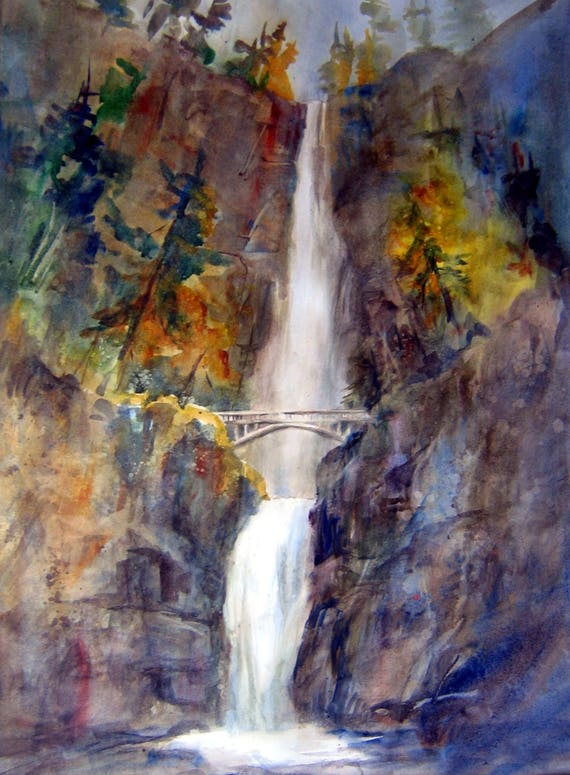 Multnomah Falls 2 - signed print - Bonnie White - Columbia Gorge - Columbia River - watercolor print