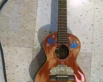 Tenor Ukulele, hand painted, distressed folk ukulele.