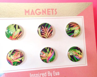 FREE SHIPPING AUS - Tropical Print Glass Magnets - Bird of Paradise - Fern - Green, Orange - 6 Piece Strong Magnet Set - Summer Accessories
