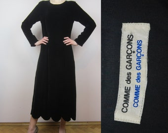 COMME DES GARCONS black velvet dress scalloped hem S M