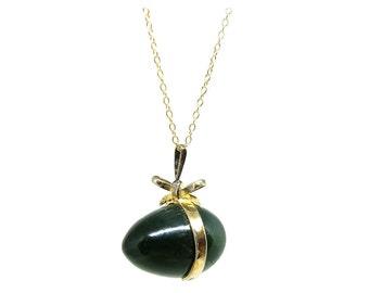 Vintage Jade Necklace | Vintage Necklace | 1960s Pendant | Jade Egg | Silver Gilt Necklace | Bow Necklace | Egg Necklace | Gold Pendant |