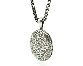 Antique Locket | Victorian Locket | Silver Locket | Ivy Locket | Locket Necklace | Statement Locket | Estate Locket | Large Oval Locket