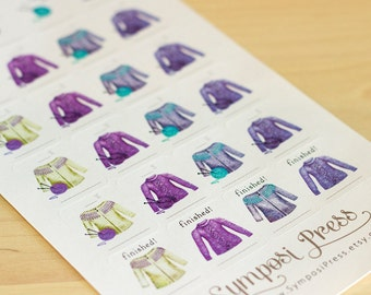 "Sweaters! Work-in-progress (WIP) Knit Planner Stickers in ""Violet"" (Inkwell Press, Erin Condren, Plum Paper, Fliofax, Kikki K, Happy)"
