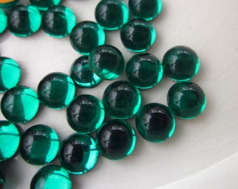 72 Vintage Cabochons, Emerald Green Glass, 5mm Round, Gold Foil-Lined Back