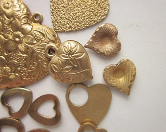 Vintage Brass Stampings and Charms, Mixed Lot Hearts, Group #1
