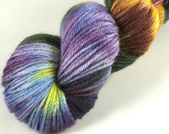 "Hand Dyed DK Yarn, 100% Superwash British Bluefaced Leicester Lustre Wool ""Starry Night Sky"""