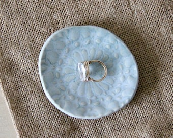 Ceramic Lace Dish, White Jewelry Dish, Trinket Dish, Jewelry Holder, Clay Dish, Clay Jewelry Holder