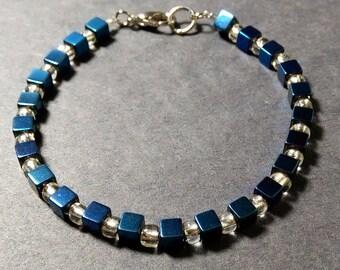 Handmade Beaded Clasp Bracelet  4mm Iris Hematite Stone and Glass Beads - Blue & White - #T571001
