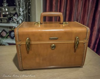 Vintage Samsonite Shwayder Bros Cosmetic Train Case #4912 Mahogany Brown