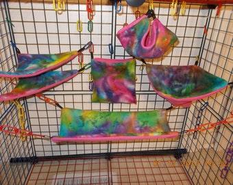 XL CLASSIC Tie DYE 6 Piece Custom Sugar Glider cage set.