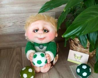 Footballers doll handmade inside doll handmade doll fabric doll pure manual work