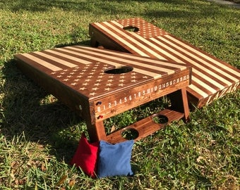 Hand-Made Corn Hole boards (2) **AMERICAN FLAG** Woodstain or any logo. Wedding + birthdays + anniversaries
