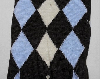 Baby Legwarmers Navy blue with blue and ivory argyle