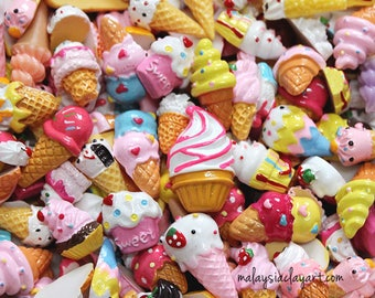 Ice Cream Collection - 10 Pcs Assorted Ice Cream Decoden Kawaii Cute Cabochons Cute Beads Candy Sweets Phone Casing