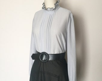 Amazing Vintage Semi-Sheer Slate Gray and Black Polka Dot Ruffle Neck Secretary Dress - OSV0046