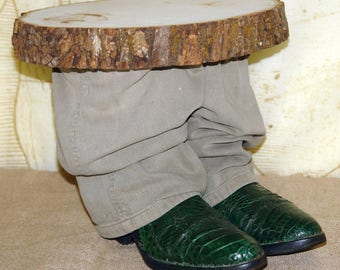 Two boot scooting foot stool, or plant stand!  Vintage Cowboy Boots Re-purposed.