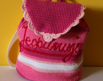 Girls personalized backpack, Crochet personalized backpack, Women crochet bag, Pink girls backpack, Crochet bag, Girls bag, Female bag